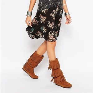Brown 3 Layer Fringe Minnetonka Boots